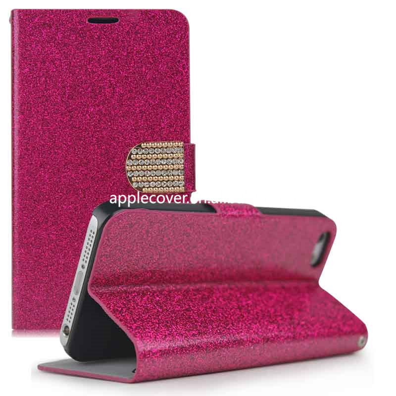 Standing leather for apple iPhone 5 5s Glitter case