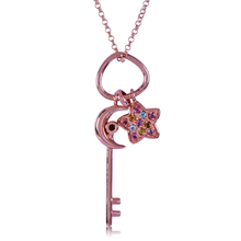 CYMO Colorful Tourmaline stone star and moon Key Pendant Rose Gold Plated 925 Sterling Silver necklace