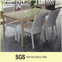 folding chairs Outdoor PE wicker Aluminum furniture PE furniture with waterproof cushion Table and Outdoor Dinning chair