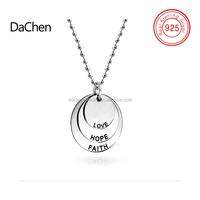 Faith Hope Love Sterling Silver Disc Pendant 18inch Necklace