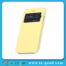 New Products 2014 Flip Leather Case For Apple iPhone 6 4.7 Inch, Mobile Phone Case For iPhone 6 Case (Yellow)