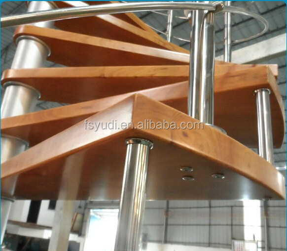 Steel indoor wood spiral staircase made in Foshan