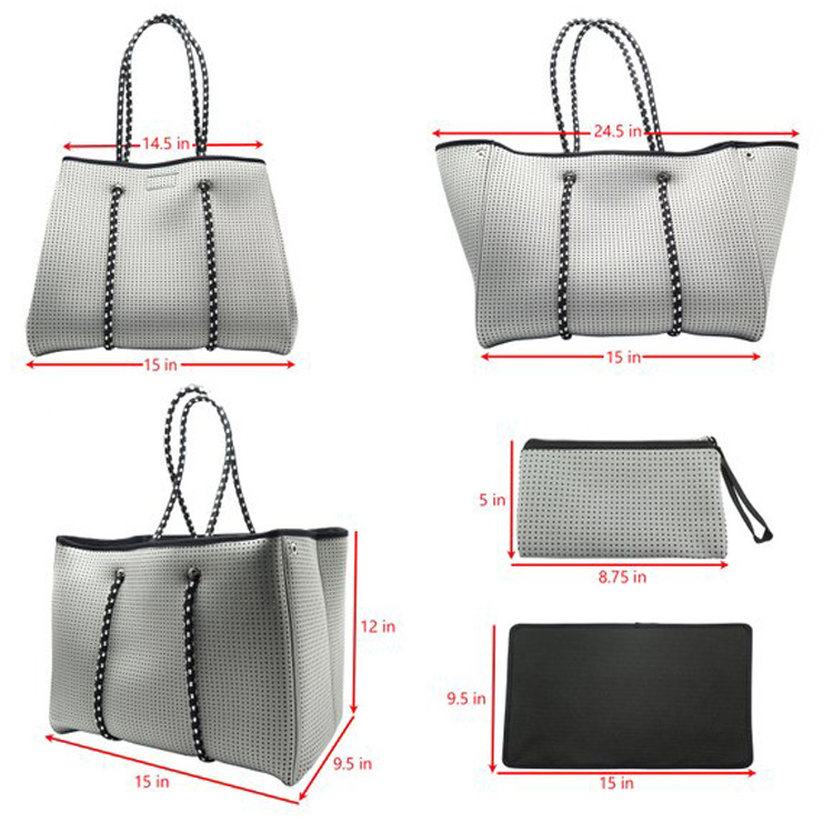Wholesale Fashionable Neoprene Perforated Customized Silvery Beach Hand Bag For Women