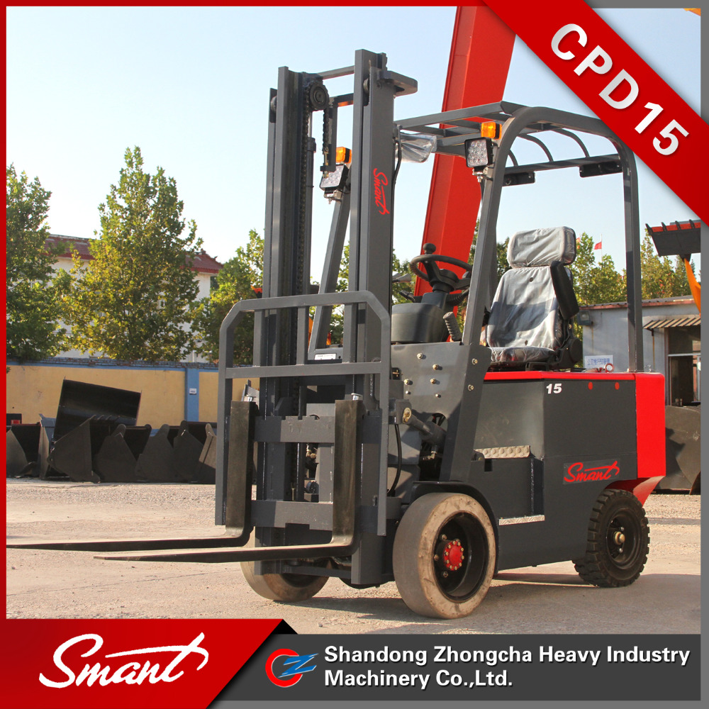 4 wheels hydraulic car lift 1.5 ton electric forklift truck with 3m lifting height used in warehouse