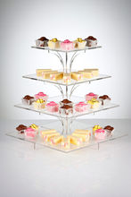 4-Tier Square Stacked Party Cupcake Dessert Tower Clear Acrylic Cake Stand