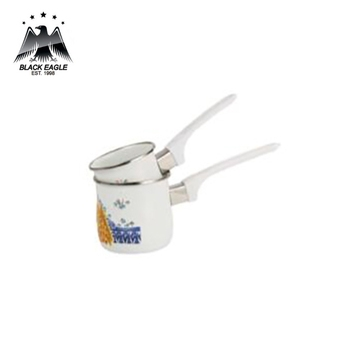 Promotional enamel coffee warmer pot can with decal