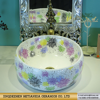 High Quality Hand painted Colored Round ceramic bathroom hand sink and Toilet basin