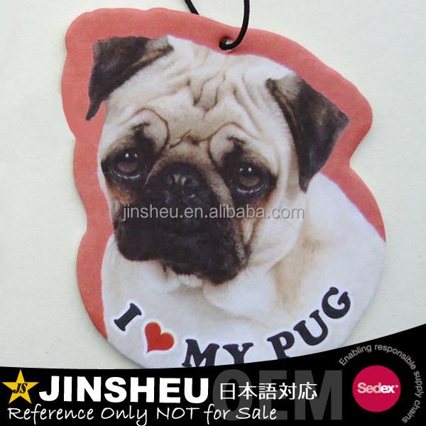 Pug Dog Deodorant Air Paper Freshener Car Mirror Hanging Decoration