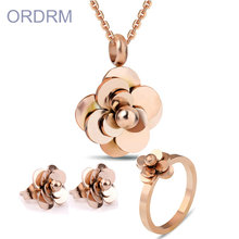 Stainless steel rose gold jewelry set