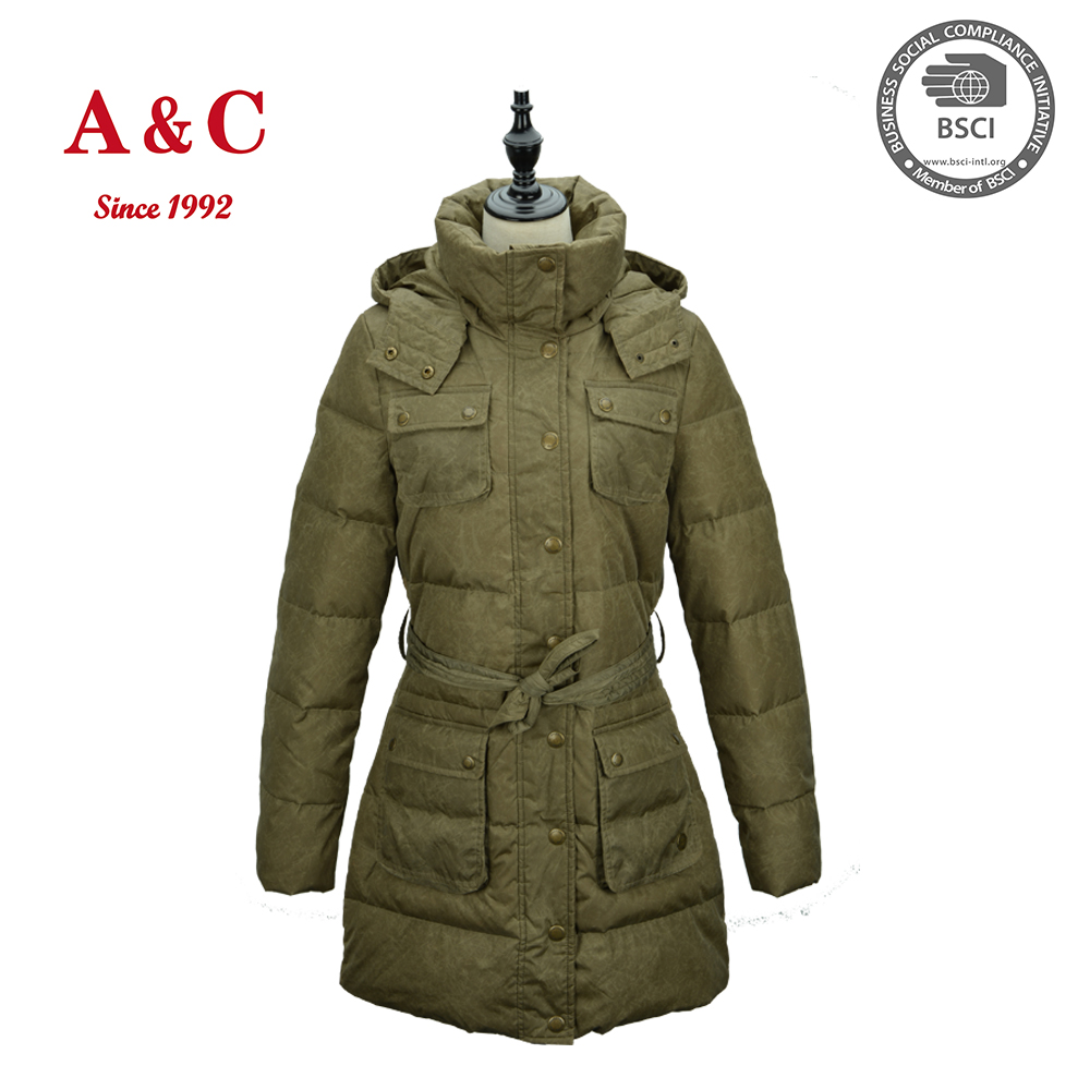 Women New Fashionable Do Old Treatment Long Padded Down Jacket