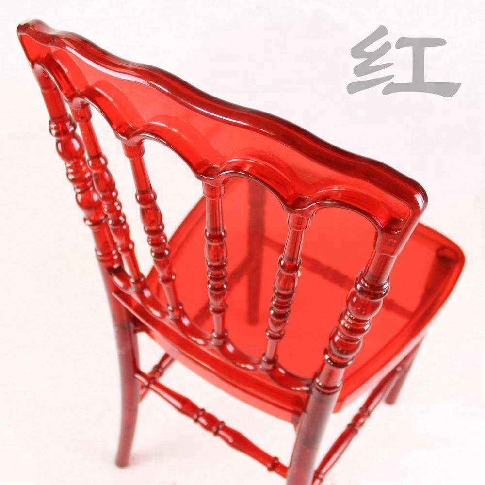 Commercial Hotel Crystal Clear Red Napoleon Plastic Chair