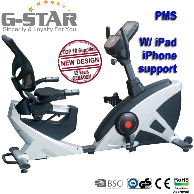 GS-8719RP-<strong>13</strong> New Design Deluxe PMS programmable recumbent exercise bicycle