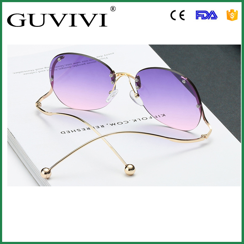 GUVIVI Sunglasses metal oversize beady Color changing sunglasses rimless wave legs Aviator sunglasses