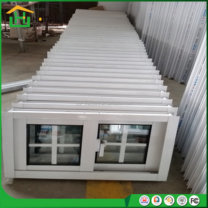 Cheap house windows for sale double glass PVC slidign window with window grill design