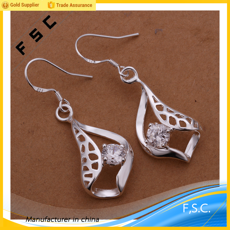 wholesale style silver plated leaf shaped clear zircon diamond copper earring for women