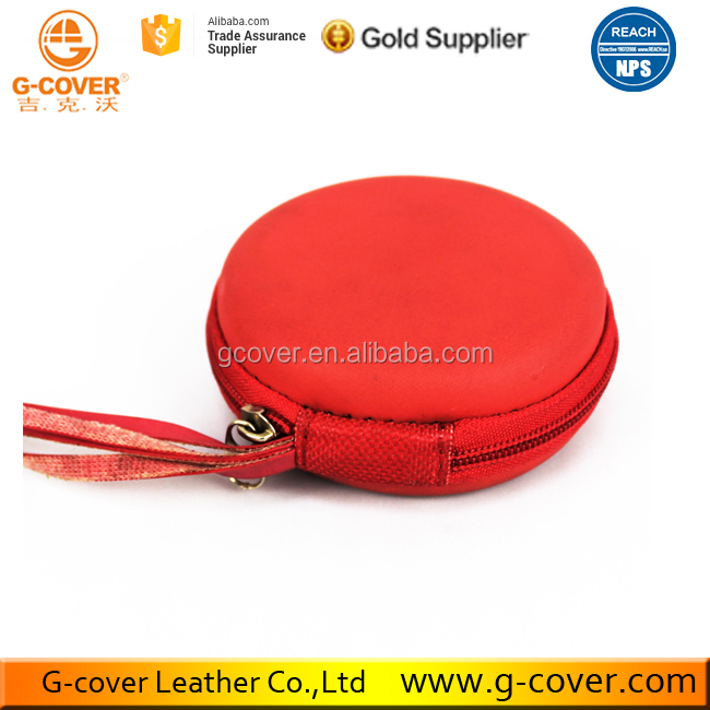 Red Leather Creative Portable Round Coin Purse Earphone case