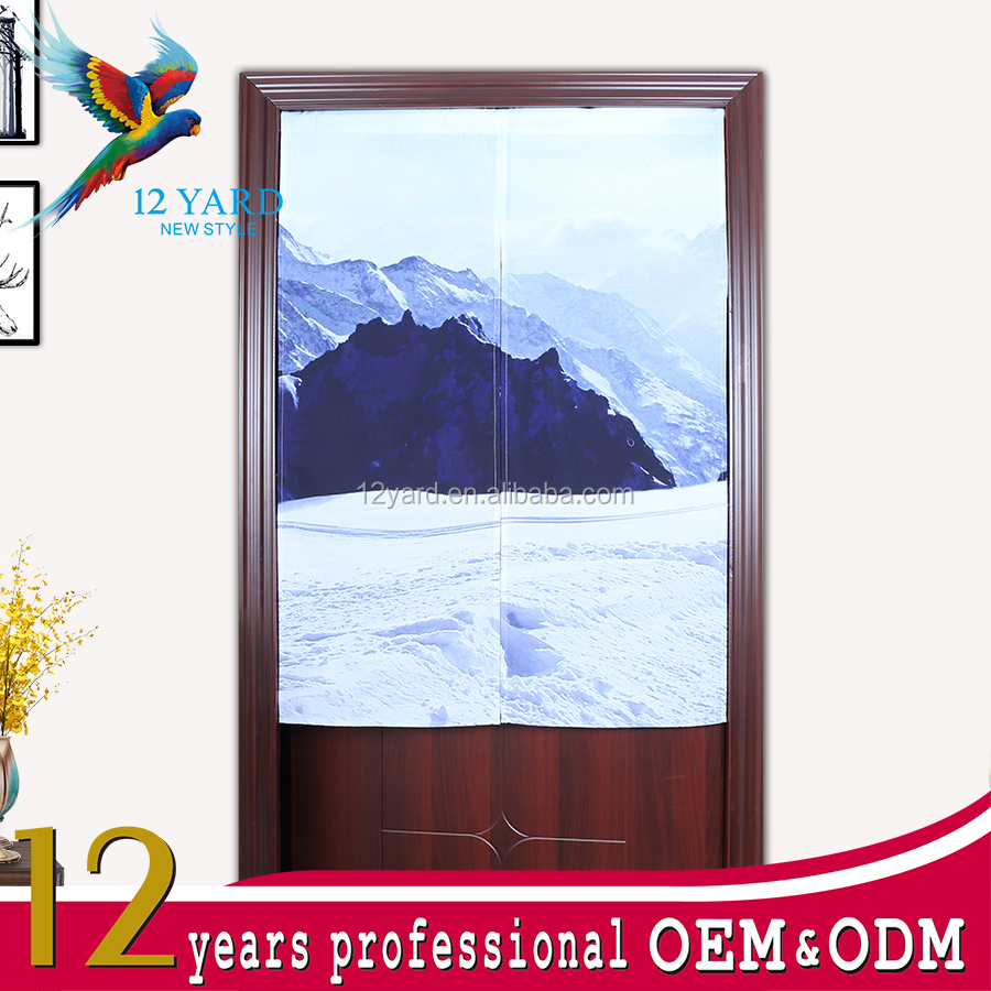 Door decorative curtain snow moutain print screen door curtain half door curtain