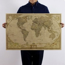 Art Crafts Maps Wallpaper Large Retro World Map Kraft Paper Paint Vintage Wall Sticker Poster Living Room