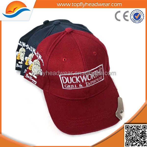 Embroidery logo cotton twill 6-panel golf cap/hat with beer bottle opener/baseball cap with bottle opener