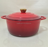 Round red enamel cast iron casserole with lid