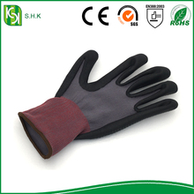 2016 SHK black foamed latex coated gloves nylon gloves liner with foam latex coated on the palm