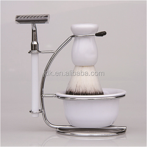 White Resin Handle Badger hair Shaving Brushes Set With Stand And Shaving Bowl