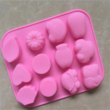 Square 12 Holes Flexible Silicone Jelly Making Tools Molds