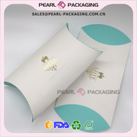 Tiffany Color Printed Gold Foiled Hair Extensions Pillow Box, Customizable Gold Foiled Pillow Box for Hair Extension