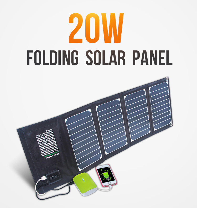 foldable 20W waterproof solar battery charger for mobile phone, Tablet/pc