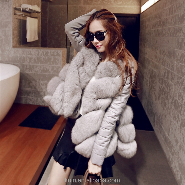 High quality lady girls fox fur leather coat/winter coats women Removable coat VES-6B