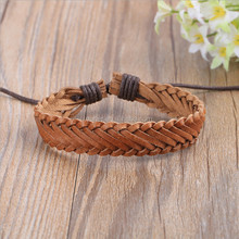 Men Women Unisex Multi Thong Braided Bracelet Thin PU Leather Bracelet