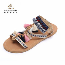 Ankle straps leather sandals flat boho embroidered summer beach shoes