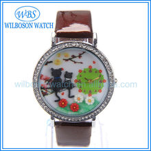 Cute leather strap girl watch