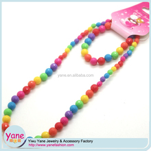 wholesale factory kids bead necklace, beaded plastic necklace, necklace online for little girls