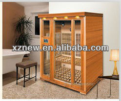 Dynamic Infrared Luxury 3 Person IR Carbon Sauna W Side Glass Honey Stain Saunas