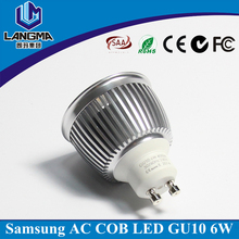 Langma 2700 K samsung ac cob sin conductor 6 w led <span class=keywords><strong>gu10</strong></span> bombillas 50 w equivalente