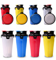Pet Drinking Snack Bottle Pet Outdoor Dispenser Water Cup Portable Pet Dual Bottle with Collapsible Bowl