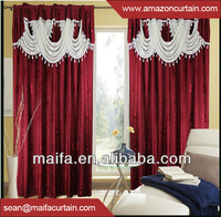 2016 New Style Fashion Islamic Ready Made Curtain Set With Valance