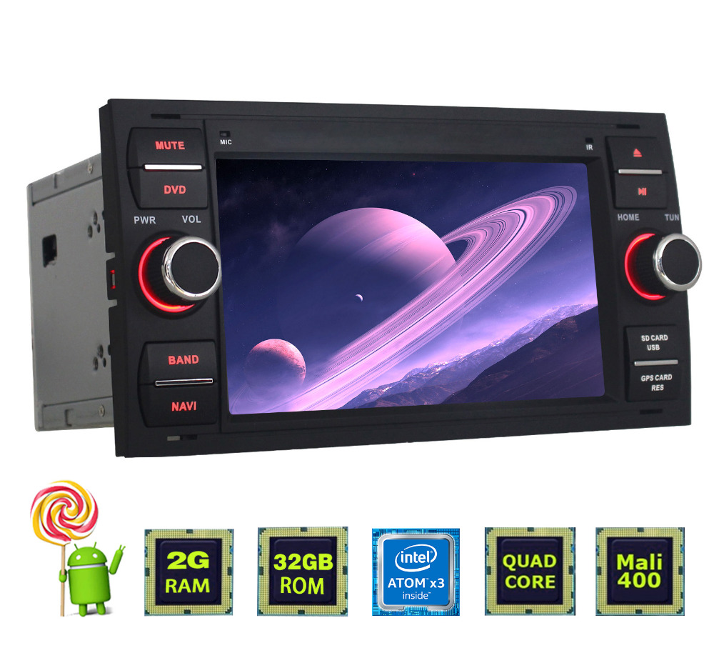 7 inch double din HD 1024*600 andriod 5.1.1 touch screen car dvd player for Ford