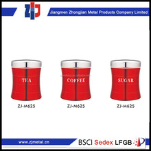 china wholesale market agents red canister with stainless steel lid