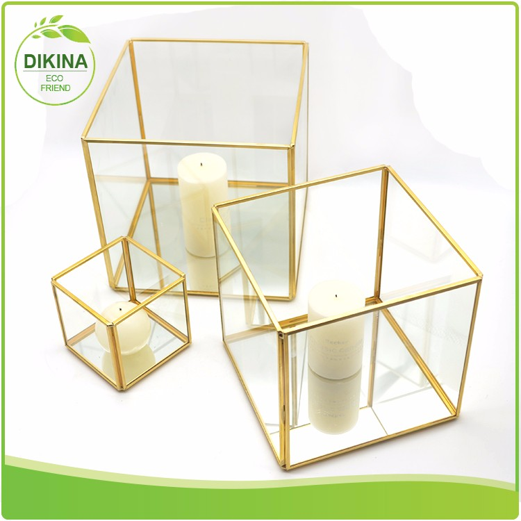 For Party & Home & Garden & wedding use Decorative Glass and brass Rose gold Bronze Copper Black Gold silver candle container