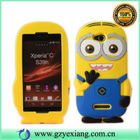 3D Cute cartoon silicon minion case for sony xperia z1