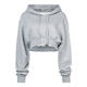 Hot Sale Girl Hoody Sweatshirt Light grey Cropped Top hoodie for Ladies