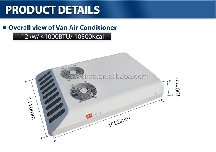 KT-12 12v/24v Roof mounted air conditioner for van, minibus from China factory supplier
