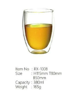 High Quality Clear Double Wall Glass Tea Tumbler Coffee Cup Handblown Double Wall Glass Mug With Handle