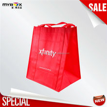 Red Folding Carrier Bags Low Price High Quality Plaid Shopping Bag