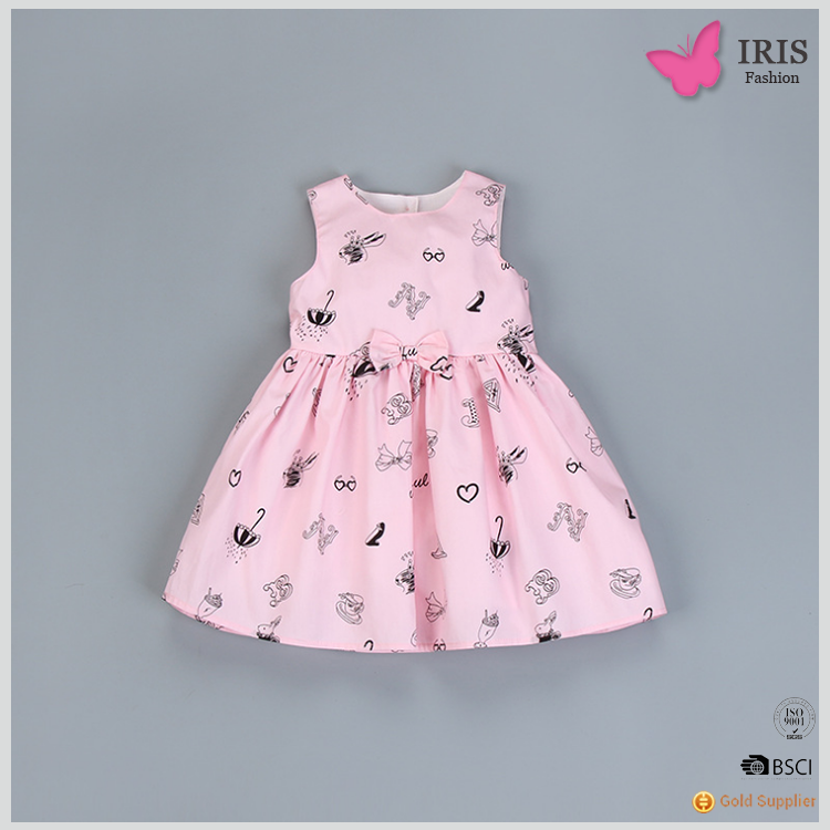 MK-D30 Beautiful Colorful Printing Cotton Children Girls Wear Dress