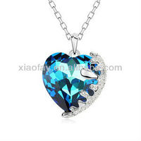 Ocean Blue Fashion Crystal Necklace With Diamonds Heart Design