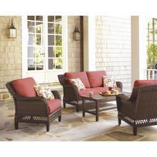 patio stationary rolled arm chairs and loveseat with aluminium top coffee table poly rattan furniture
