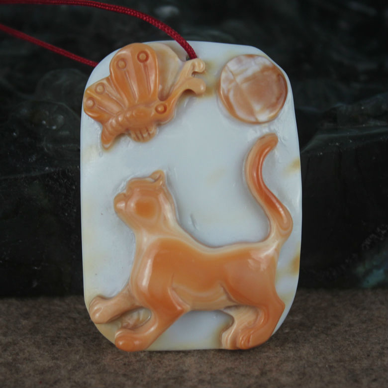 1.85 inch cat & butterfly carved shell pendant